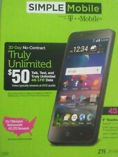 """New Simple Mobile ZTE ZFIVE G Z557BL 16GB 5"""" 5MP Android Smartphone"""