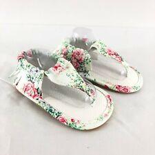 Baby Girls Sandals Faux Leather Floral Fringe Moccasin Boho White Size 3
