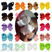 6 inch Knot Grosgrain Ribbon Large Hair Bow  Alligator Clip Girl Boutique
