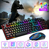 Wired Gaming Keyboard Mouse Set Mechanical Feel Rainbow LED Breathing Backlight