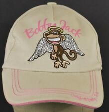 Beige Bobby Jack Monkey Girls Sparkly Embroidered Baseball Hat Cap Adjustable