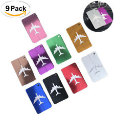 1/9X Aluminium Luggage Tags Suitcase Labels Name Address ID Bag Baggage Travel