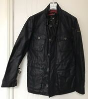 Hackett Small Wax Parka Island Bomber Coat Jacket Black Off Barbour All Weather