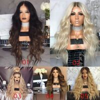 Women Cool Blonde Long Full Wavy Wig Curly Natural Hair Gradient Wigs Cosplay