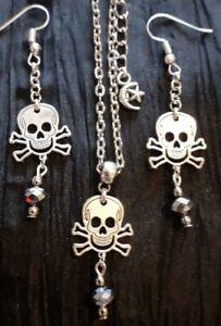 Halloween Totenkopf Halskette & Ohrringe 💖 grau Kristalle freie PP Geschenktüte
