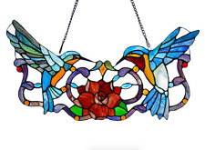 Stained Glass Hummingbird Window Panel, Hanging Blue Tiffany Ornament Wall Decor