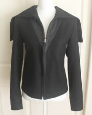 Womens Martin Margiela Black Wool Blend Marin Garment Full Zip Jacket Coat Sz 6