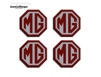 MG TF Car Alloy Wheel Centre Caps Badges 45mm Logo Badge Burgundy Silver 4 Pack