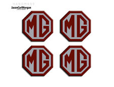 MG TF Alloy Wheel Centre Caps Badges 45mm Logo Badge Burgundy Silver 4 Pack