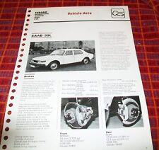 SAAB 99L. FERODO TECHNICAL NEWS VEHICLE DATA SHEET.1974. BRAKES CLUTCH