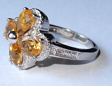 Citrine and Diamond floral ring (4.260ct) in platinum bond, Size S.