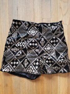 Zara S Sequined Black Velvet Shorts