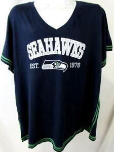 """Seattle Seahawks Women Plus Size 3X Screened """"SEAHAWKS EST 1976"""" Tee ASSE 149"""