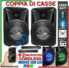 COPPIA CASSE 1300 Watt USB LED Bluetooth Radio 2 MICROFONI KARAOKE AMPLIFICATE