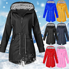 UK Women Waterproof Raincoat Ladies Outdoor Wind Rain Forest Jacket Coat Size