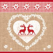 """20 Servietten""""Deer Love natur""""Hirsch*Alpenchic*Hüttenzauber*Herz*Karo*Elch 33x33"""