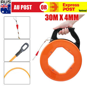 30Mx4mm Fiberglass Cable Puller Fish Tape Wire Reel Snake Conduit Duct Rodder D