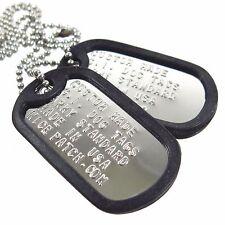Personalized Custom US Military Dog Tag Set (2Tags+Necklace+Silencer)-Shiny