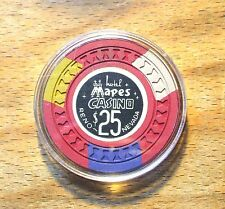 $25. Mapes Hotel Casino Chip - 1950s - Reno, Nevada - Red