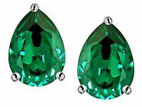 1 ct. Pear Shape Emerald Stud Earrings in Sterling Silver ~ MAY BIRTHSTONE