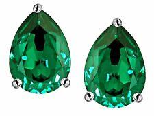 2 ct. Pear Shape Emerald Stud Earrings in Sterling Silver ~ MAY BIRTHSTONE