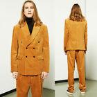 Yellow Corduroy Leisure Suits Double-breasted Peak Lapel Wide Leg Pant Mens Suit