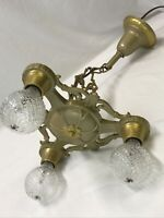 Antique Vtg Chandelier Arts & Crafts Deco Ceiling Hanging Light 1920s Gold 3 Arm