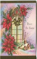 VINTAGE CHRISTMAS PINK PURPLE BLUE GOLD BELLS CHURCH POINSETTIA GREETING CARD