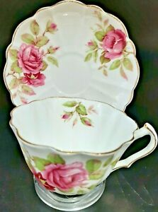 Victoria C & E Bone China Tea Cup and Saucer, Gold Accents