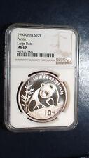 1990 China Panda 10 Yuan NGC MS 69 .999 Silver 1 Oz. Large Date
