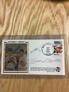 1984 Galasso Signed Silk Cachet Mickey Mantle Don Mattingly With Clemente Stamp