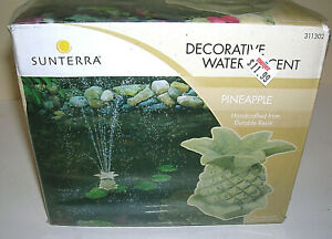 NEW Sunterra Decorative Pineapple Pond Fountain Head in Durable Resin