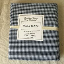 Linen Factory Table Cloth Tablecloth  5 2x 70 Cotton Poly Blue White