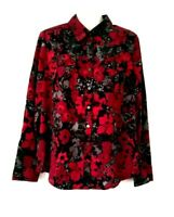 WOMEN'S CROFT & BARROW RED BLACK GRAY FLORAL LONG SLEEVE BLOUSE WITH POCKETS L