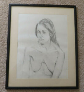 OUTSTANDING FRAMED CHARCOAL DRAWING NUDE WOMAN