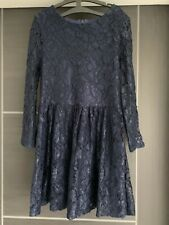 M&S Navy Blue Lace Lined Dress - Age 7-8 Years