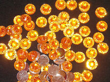 10 ORANGE sew on stich on 12mm jewel  CRYSTAL RHINESTONE trim Bead DANCE