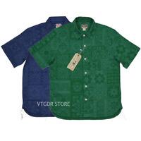 BOB DONG Japanese Retro Summer Flax Blend Men's Casual Shirts Totem Pattern