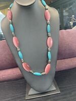 Ladies Turquoise color stone pink moon glowRetro  Long Sweater Length Necklace