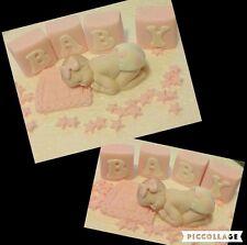 1 edible BABY and BLOCKS  stars blanket cake topper BABY shower Christening girl