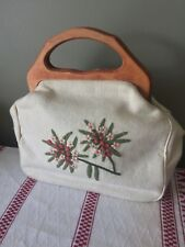 Vintage Wood Handles Lined Clutch Tan Crewel Embroidered Floral Purse
