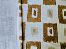 Vintage linen cotton slubby fabric abstract tones curtains drapery panels!