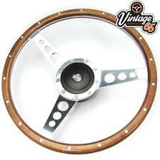 """Land Rover Defender 14"""" Wood Rim Steering Wheel & Fitting Boss Badged Horn Kit"""