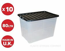 10 x 80L 80 Litre X Large Plastic Storage Clear Box Strong Stackable Container
