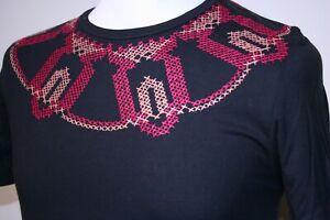 Pretty Green Aztec Embro T-Shirt - XS/S - Black/Red/Coral - Rare 80s Mod Top