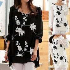 Women's Floral Long Sleeve Sleeve Hip Length Tunic, Kaftan Tops & Shirts
