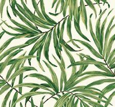 York Wallcoverings AT7050 Tropics Bali Leaves Wallpaper, White/Green