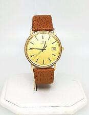 Omega Men's Gold Filled Quartz Leather Band Watch : Elegant Swiss made watch