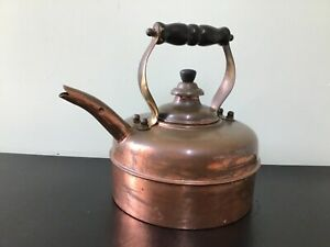 Vintage Simplex Solid Copper Whistling Stove Top Kettle Marble in Spout England