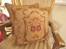 LAURA ASHLEY Tapestry Cushions FERNANDA x 2 Gold & Raspberry French Chateau Chic